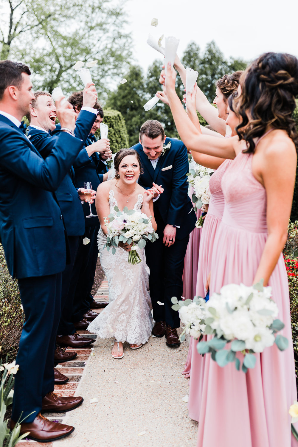 petal toss for bride and groom at antrim 1844 in taneytown md