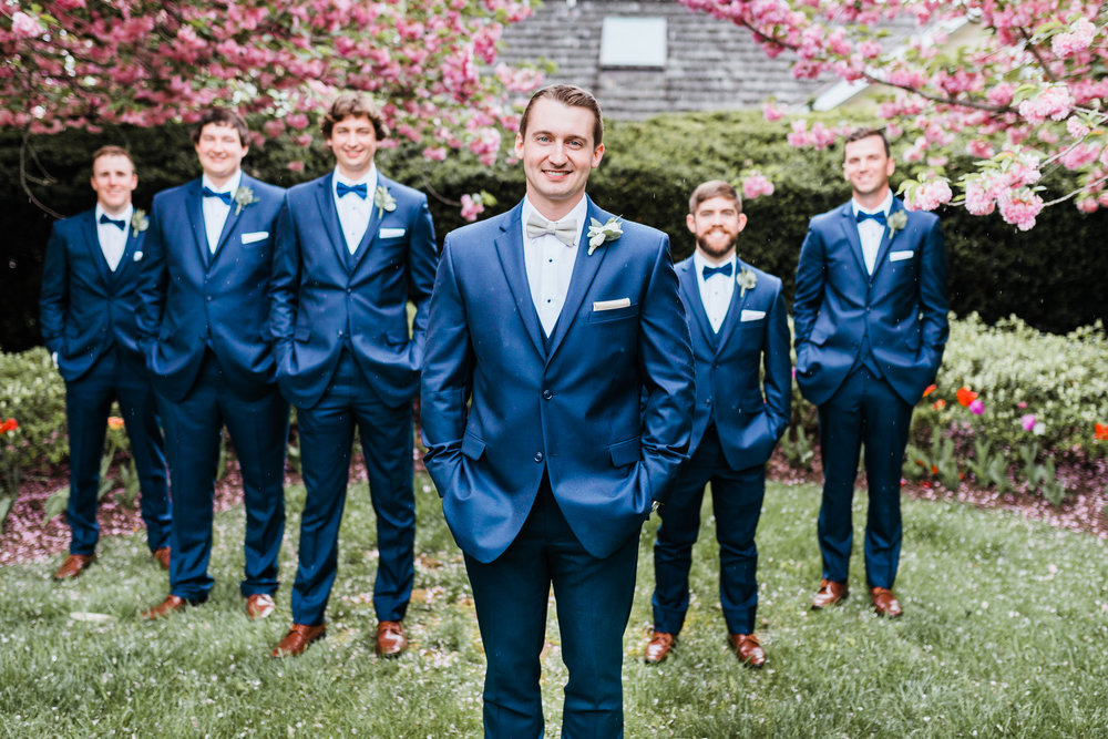groom with his groomsmen in taneytown md wedding - blue suits