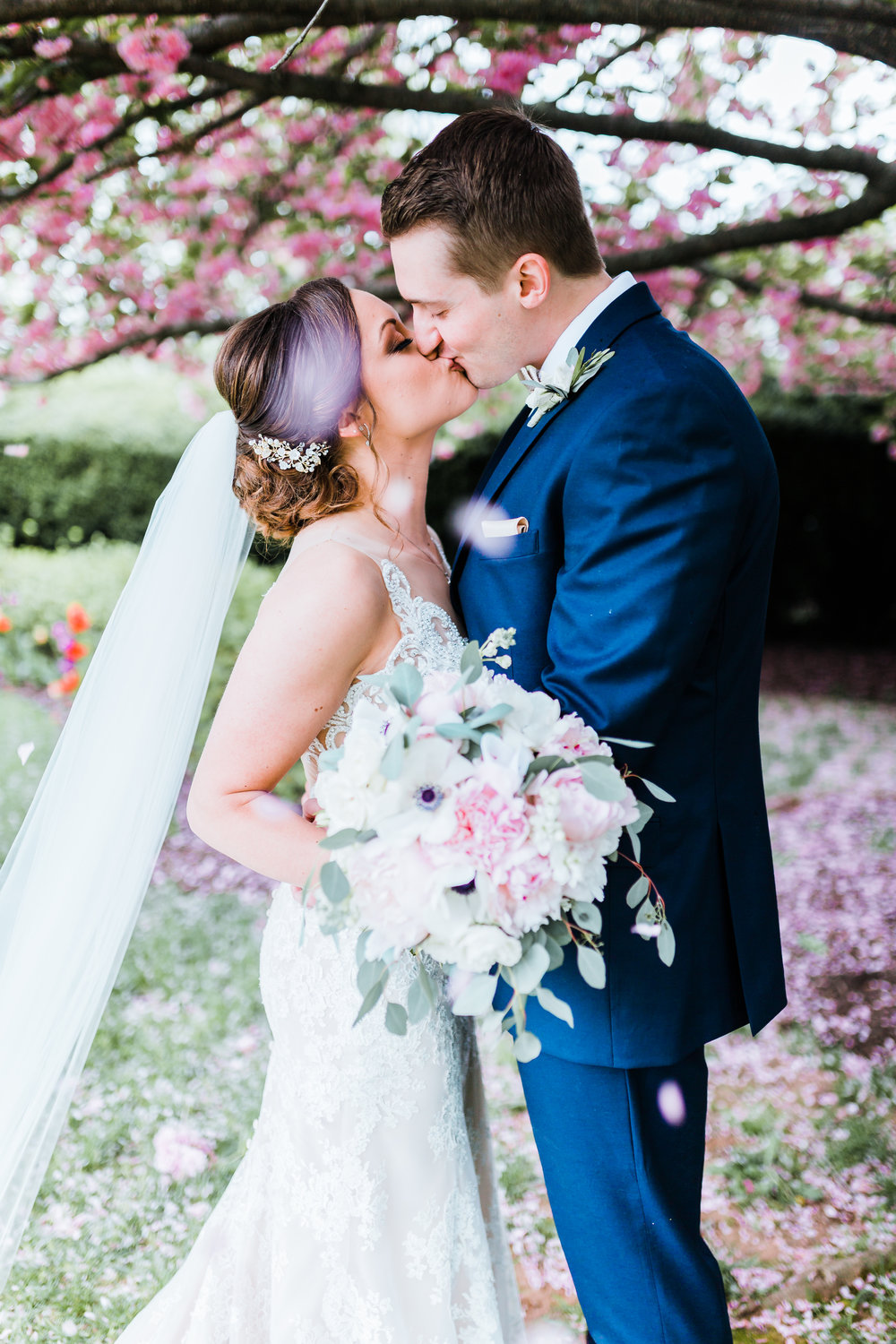 bride and groom kissing as cherry blossom petals fall in carroll county md wedding - antrim 1844 - maryland wedding photographer