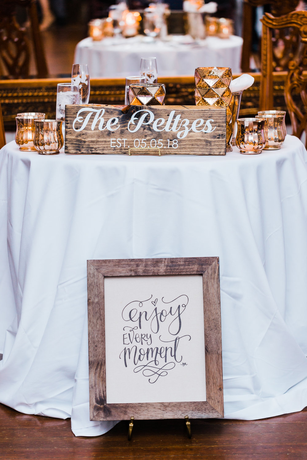 sweetheart table at antrim 1844 md wedding photographer