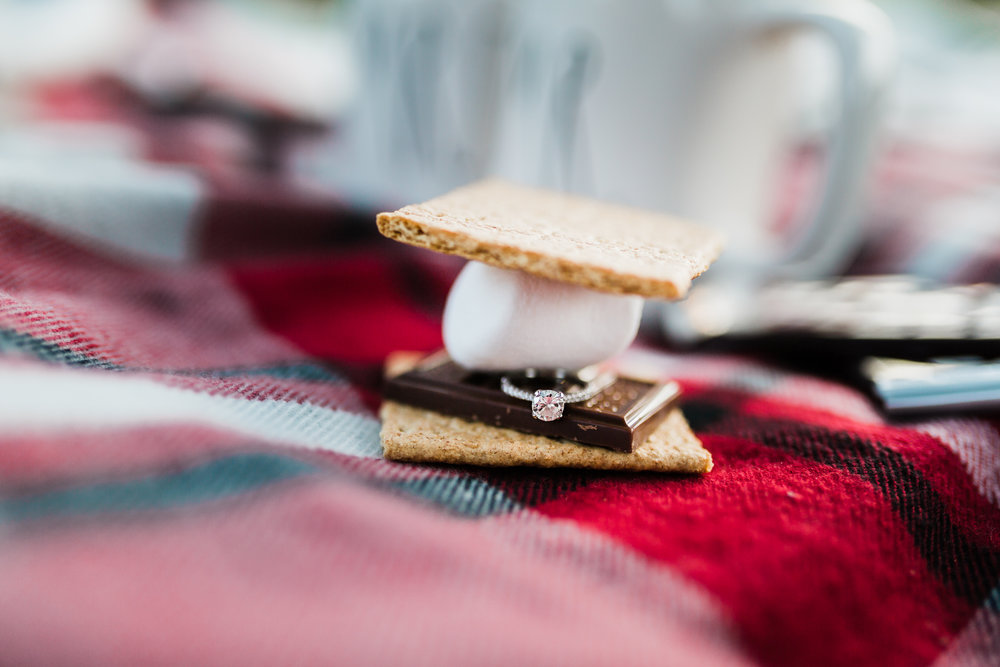 engagement ring in s'mores with bonfire and blanket - maryland photographer