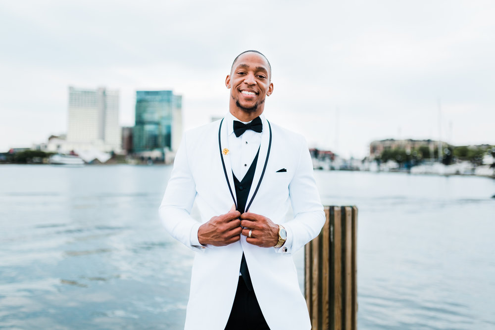 handsome groom on his wedding day in baltimore md