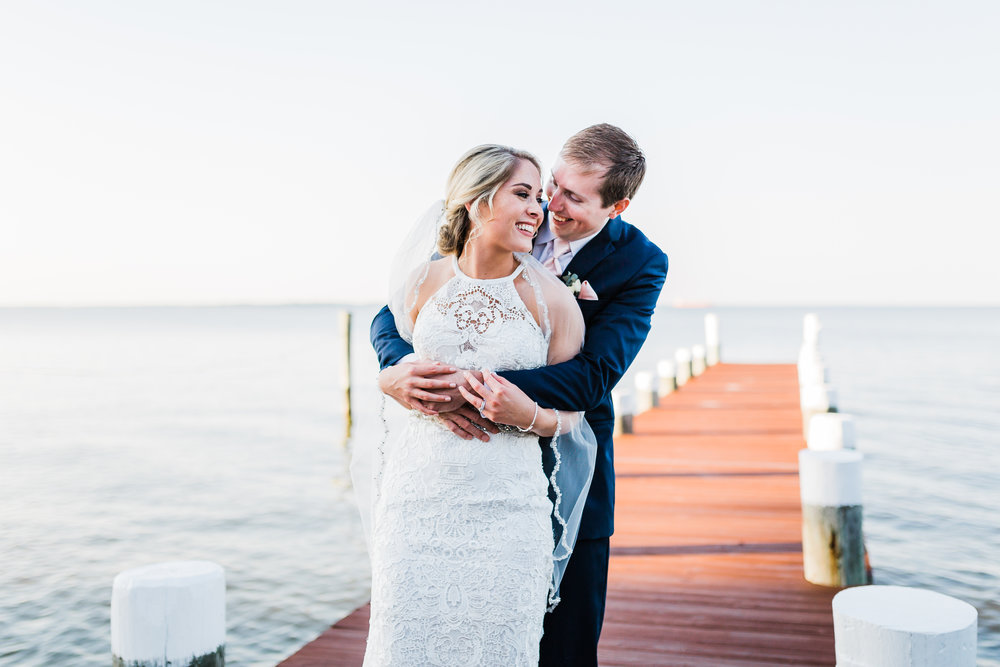 waterfront wedding venue in maryland - bayside wedding - bride and groom - md wedding photo and film