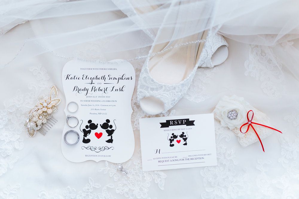 disney inspired wedding in pasadena maryland - wedding invitation suite - bridal details