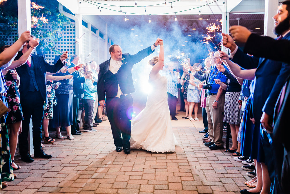 sparkler exit from maryland wedding - sparkler exit ideas - sparkler exit photography - maryland wedding photographer
