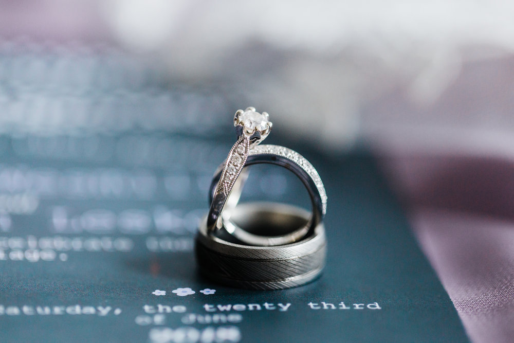 engagement ring and wedding rings - maryland wedding photographer