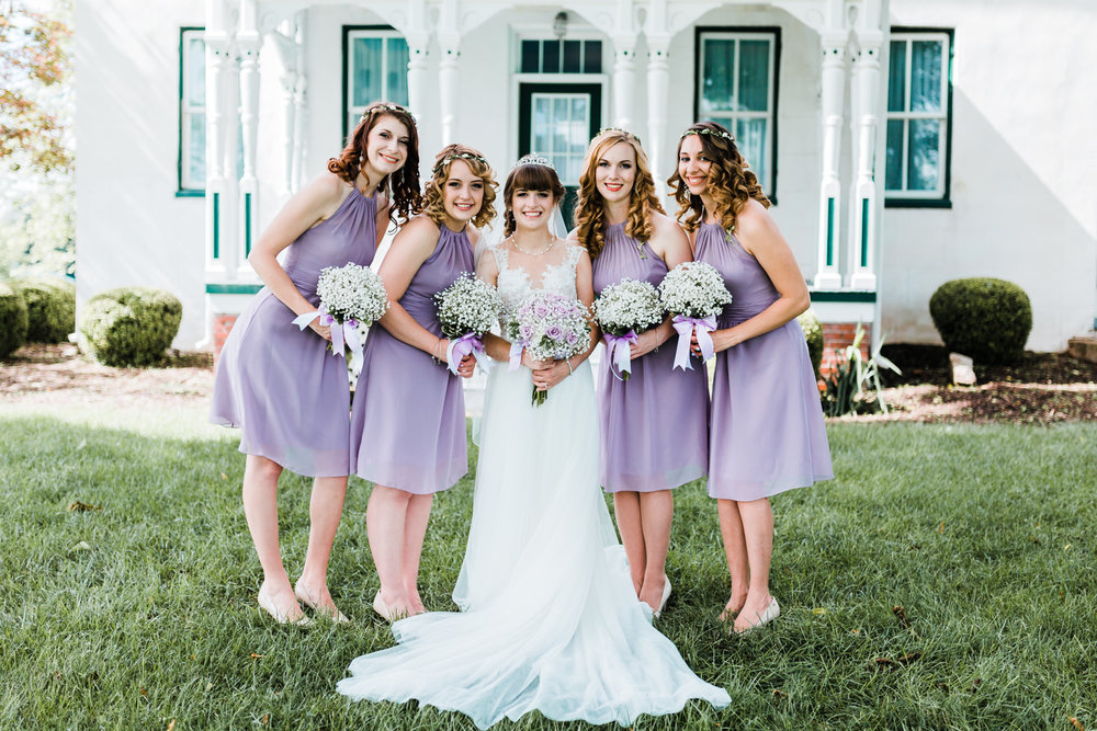 bride with her bridesmaids - light purple wedding ideas - purple wedding inspo - farm weddings in md