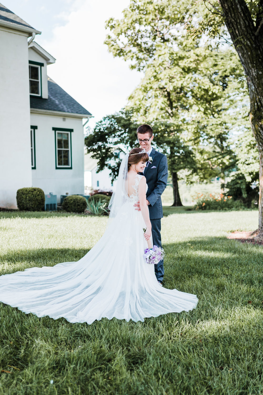 bride and groom under tree - maryland rustic wedding