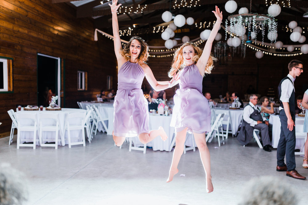 funny bridesmaids jumping together