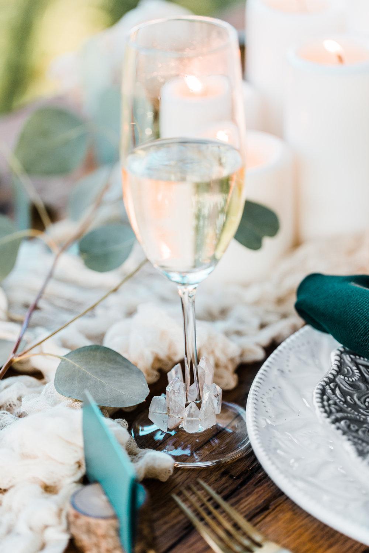 crystal wrapped champagne flutes - geode wedding ideas - boho wedding inspo - diy wedding details - top md wedding photographer