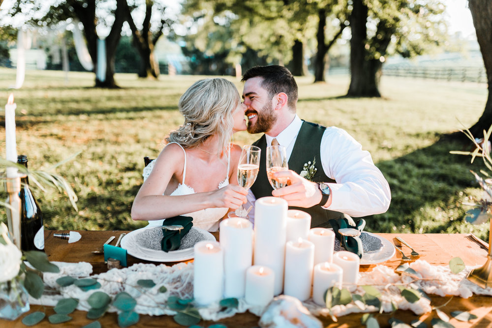bride and groom toast at styled shoot - montagu meadows - top maryland wedding photo and video