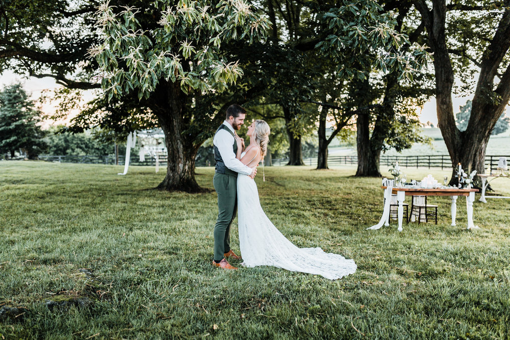 maryland wedding venues - dreamy weddings in maryland - emerald and gold wedding inspo - low back lace wedding dress - sheath lace wedding gown