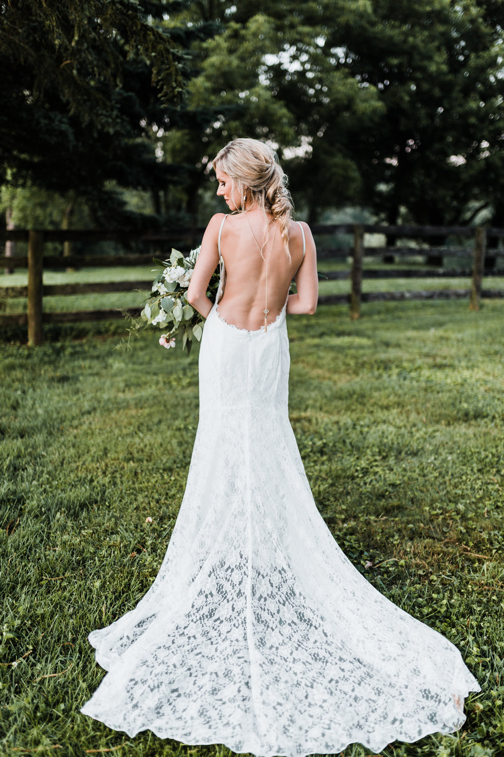 dreamy low back wedding gown - lace sheath wedding dress - backdrop necklace - bridal hair vine - diy bridal details