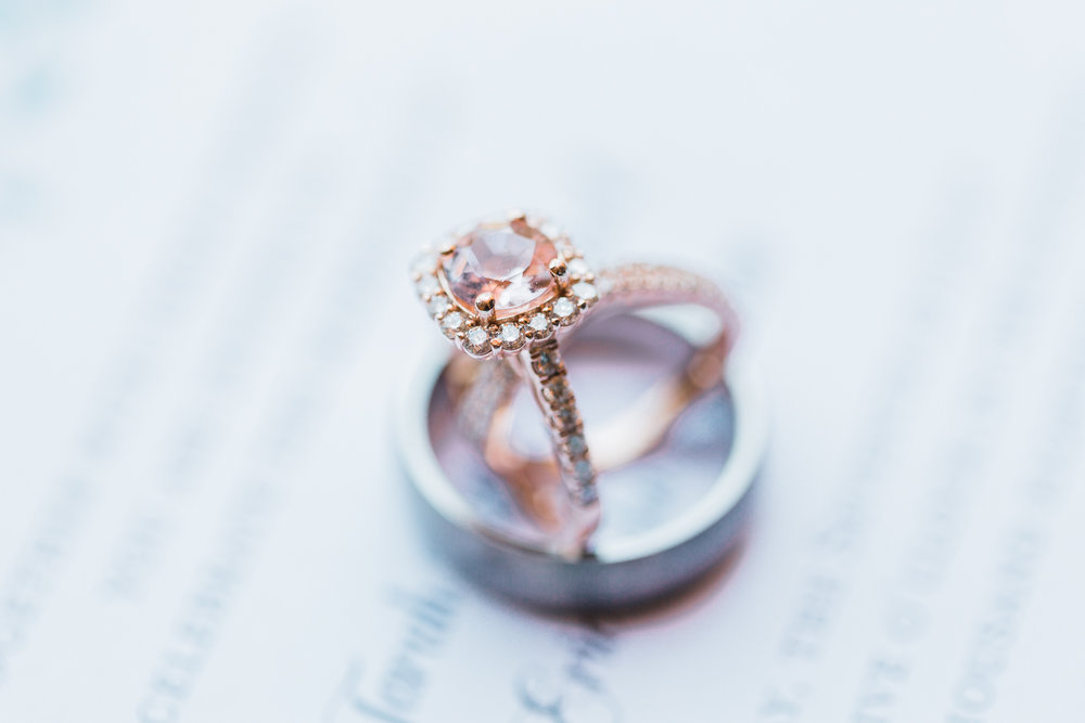 bridal details - morganite and rose gold engagement ring - maryland wedding photographer