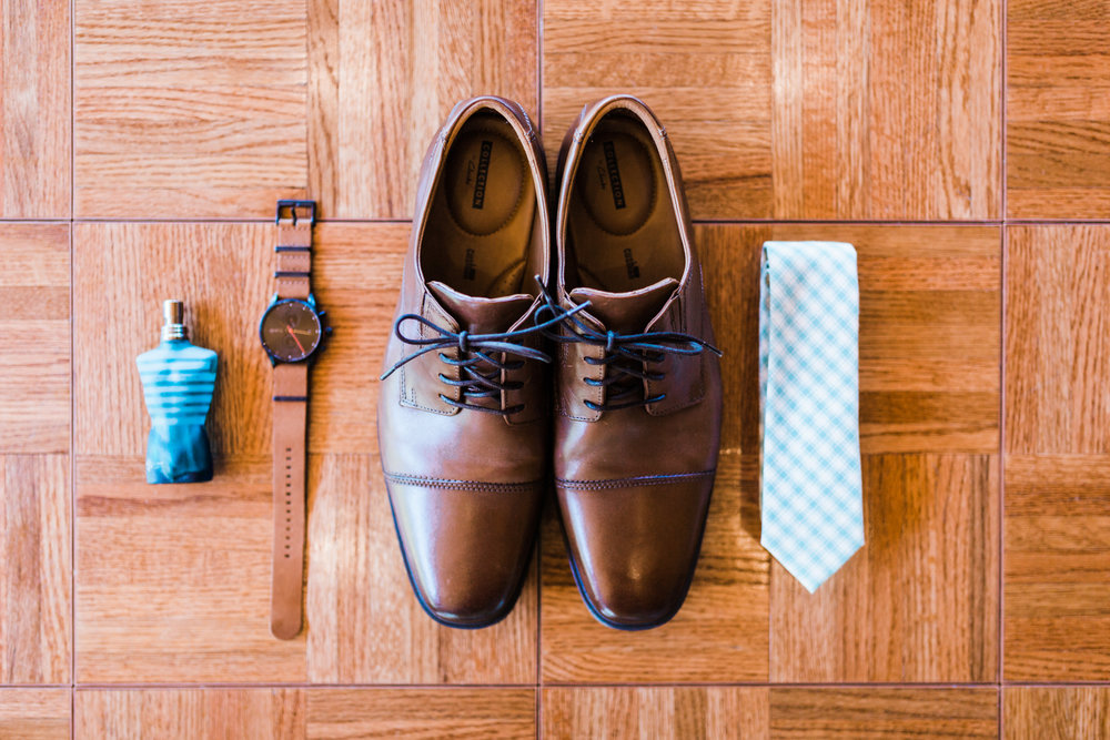 groom details - watch - cologne - shoes - tie