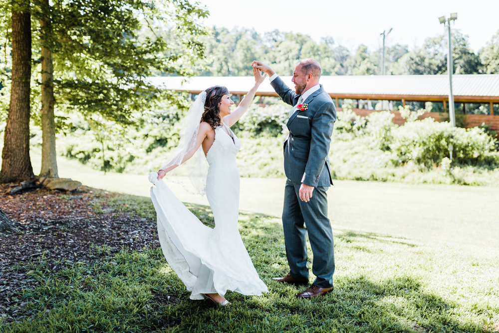 bride and groom dancing together at Liberty Mountain in Fairfield, PA - ski resort wedding - top PA wedding venues