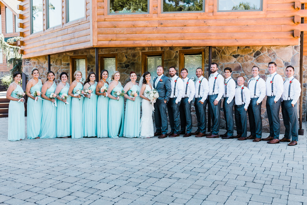 bridal party of 20 - mint and gray wedding ideas - large bridal party ideas