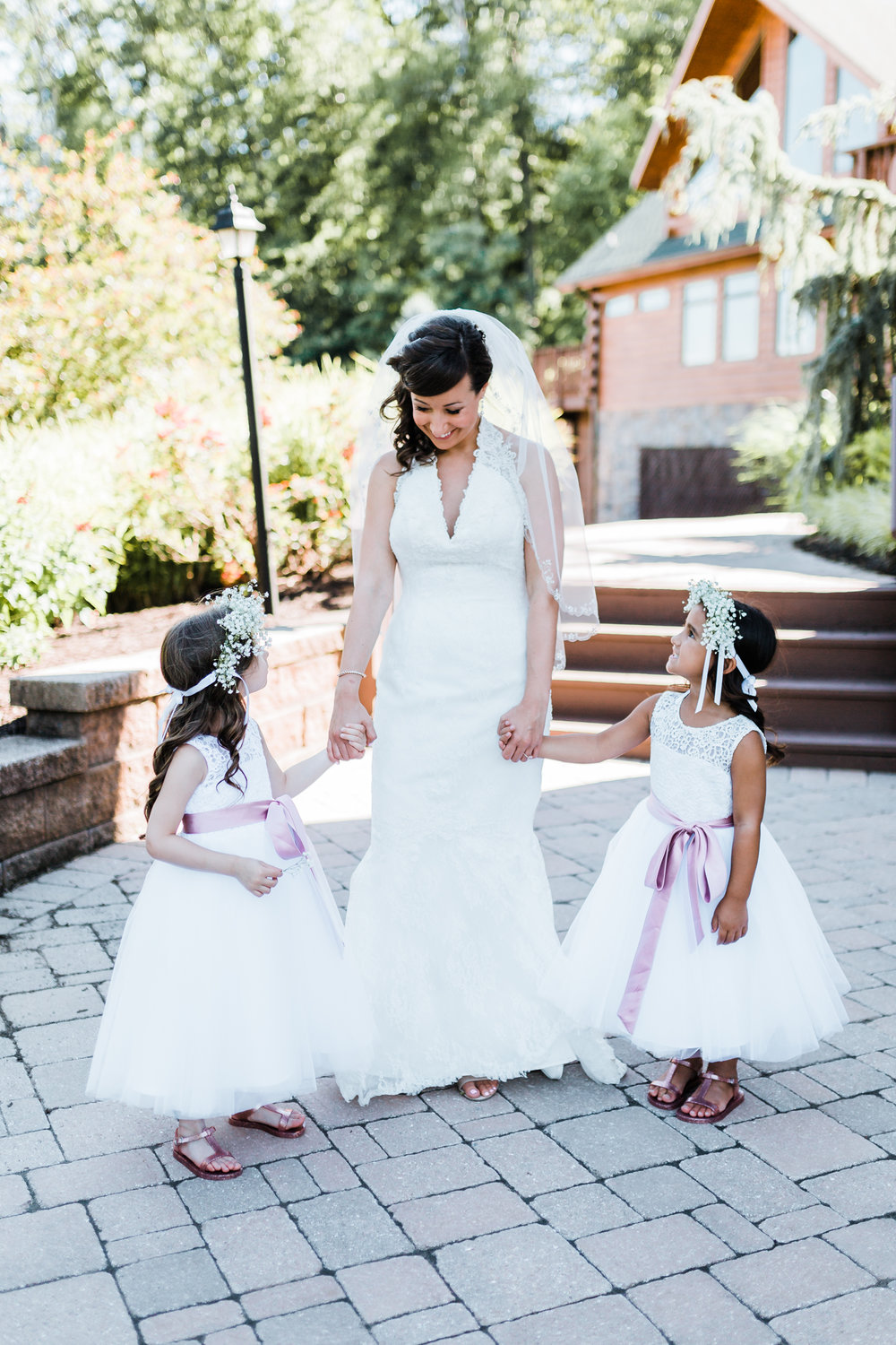 Tarah shares a sweet moment with her flowergirl's - mountain wedding inspiration - destination wedding photographer