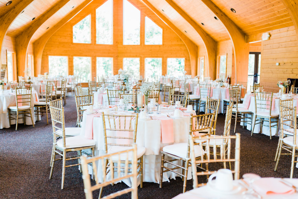 light pink and white wedding reception with gold chivari chairs - Liberty Mountain Resort weddings - Boulder lodge