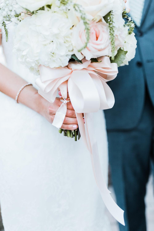 bridal bouquet details - white and peach bouquet - best PA wedding venues