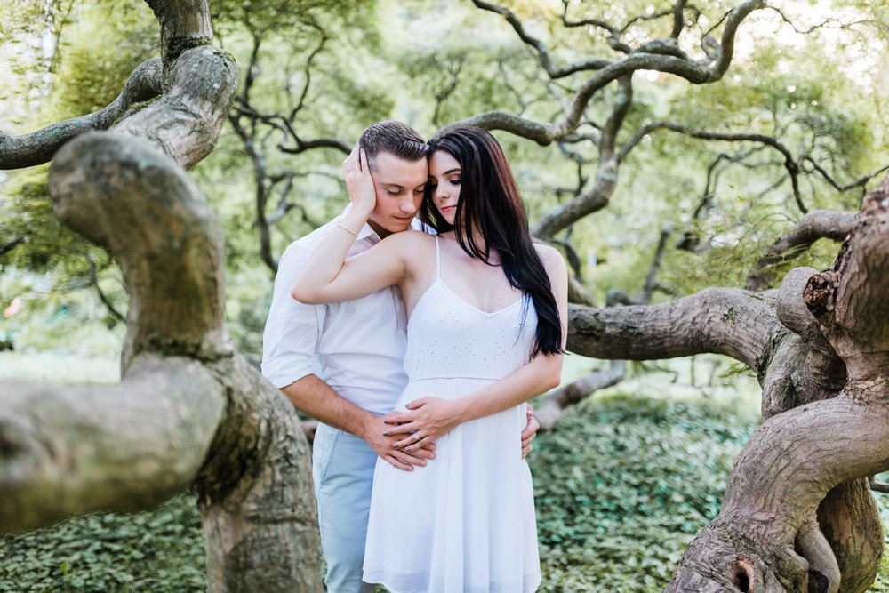 dreamy couple in japanese maples at cylburn arboretum in baltimore, md - best md engagement and wedding photographer