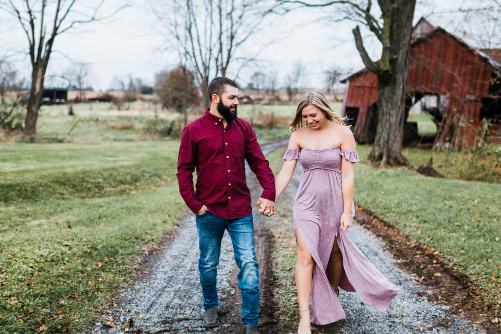 rustic farm engagement photos in Frederick, Maryland