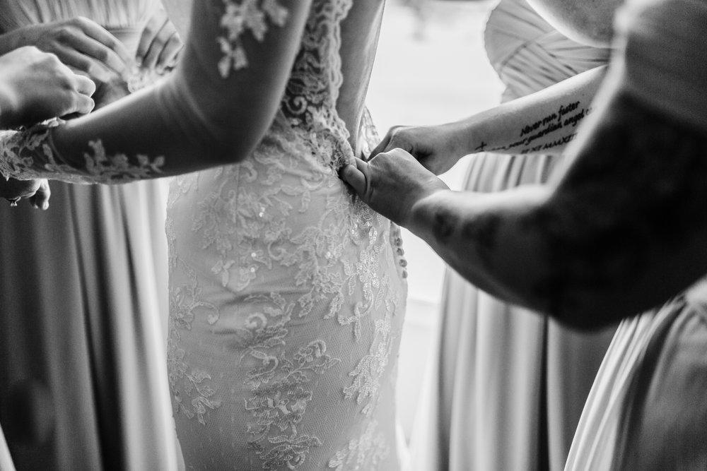 wedding dress details - bride getting ready in cascade, maryland