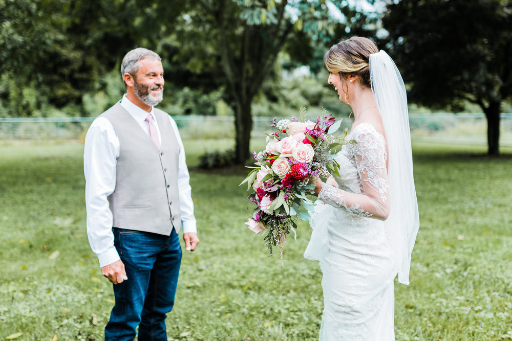 Maryland wedding photo and video - bride and dad first look