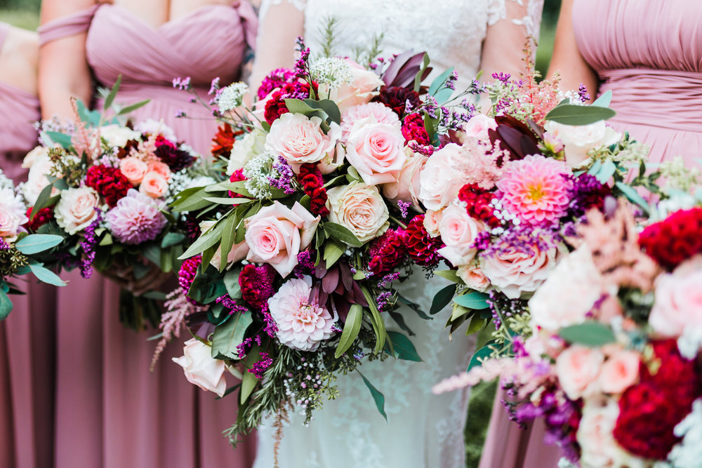 pink rose and dahlia bouquets - maryland wedding photographer