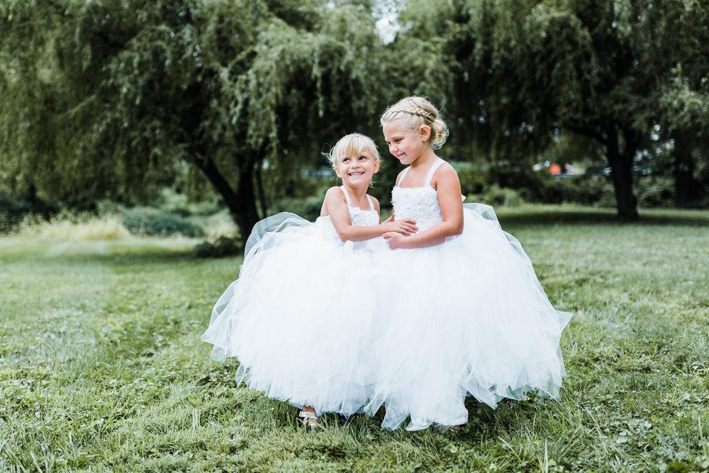 adorable flower girls in their dresses - cascade, maryland wedding