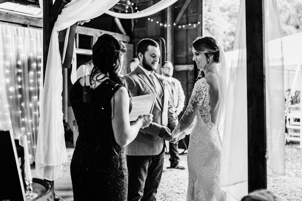 barn wedding ceremony in Cascade, Maryland