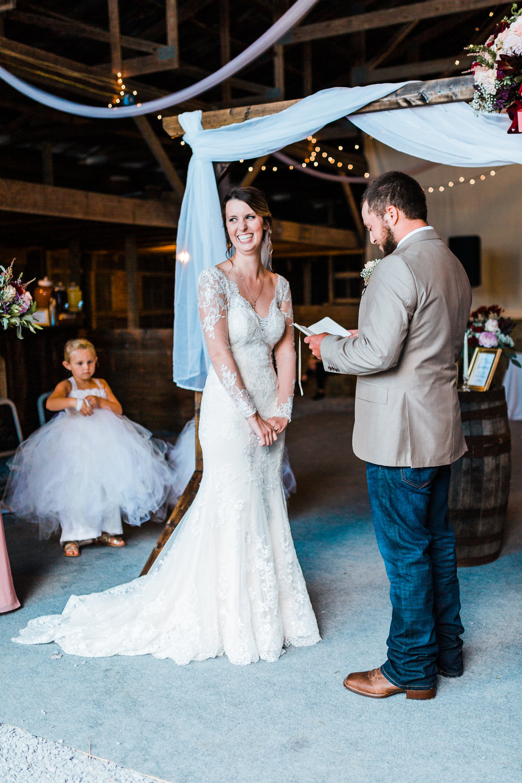 bride laughing - wedding ceremony - rustic diy weddings in MD