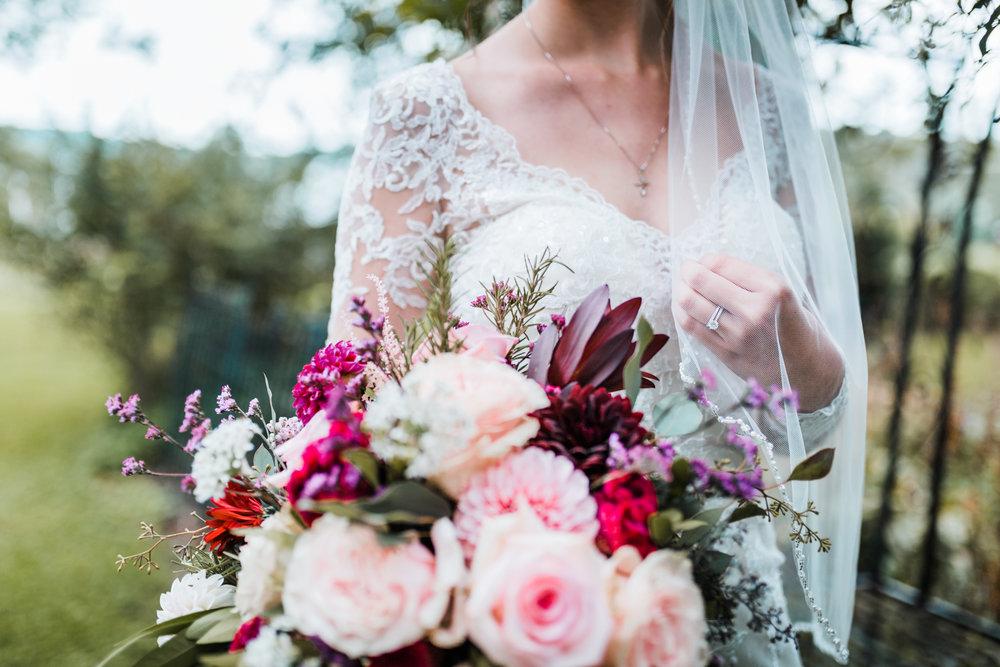 bridal details - dress, bouquet, veil