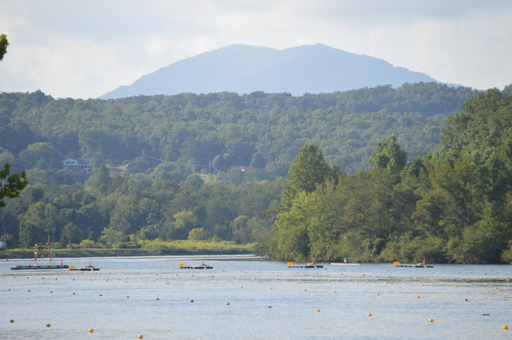 The rowing venue in Oak Ridge is set against a beautiful mountain backdrop.