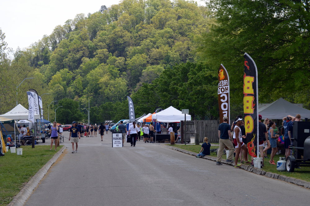 During big rowing events, vendors and spectators gather along the peninsula at Melton Hill Park.