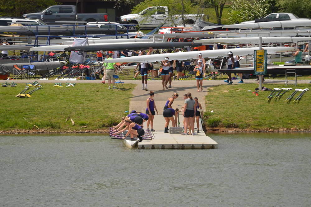 Rowers putting in their boats at Melton Hill Lake.