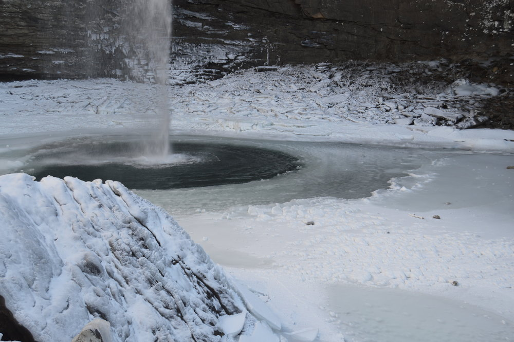 Frozen pools at the base of Ozone Falls