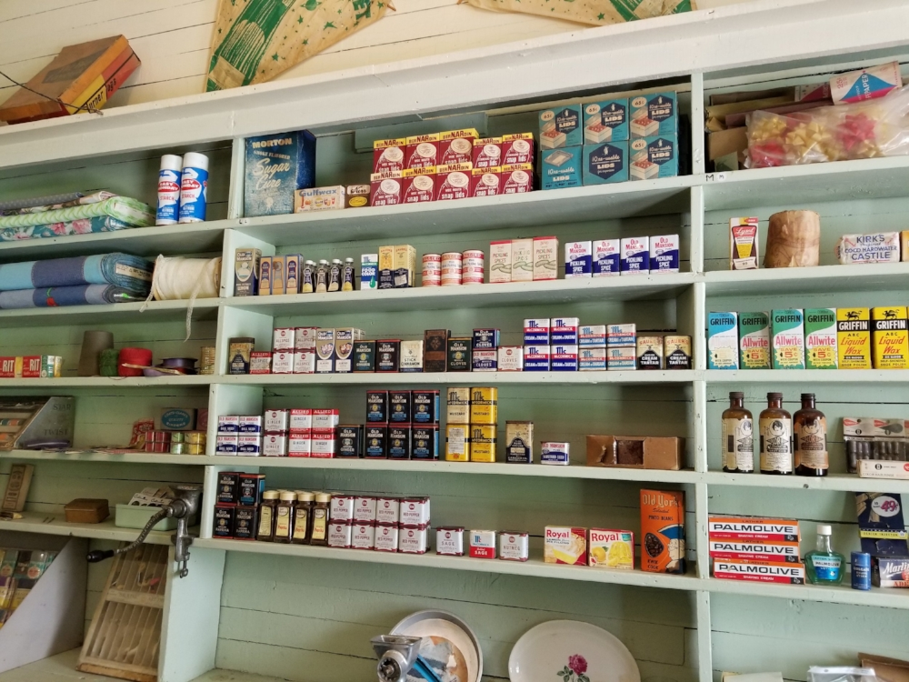 The old Green Cove Station is now a U.S. Forest Service Visitor Center. The items on the shelves are what's left of inventory on the shelves when the store closed in the early 1970's.