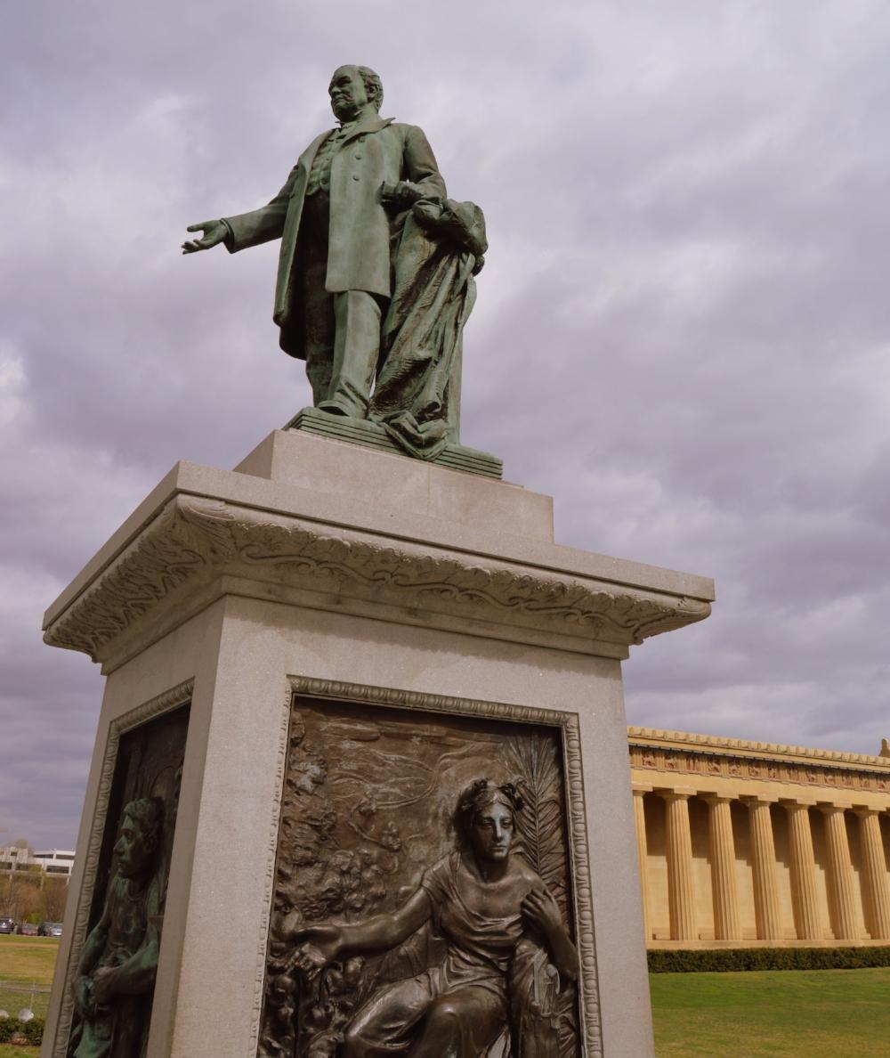 A statue of John Thomas, the President of the Centennial Exposition.