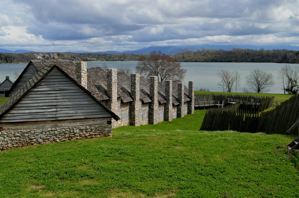 The British built the original Fort Loudoun. Today, the replica of the fort is the centerpiece of a living history park sits along the shores of Tellico Lake with the Great Smoky Mountains off in the distance.