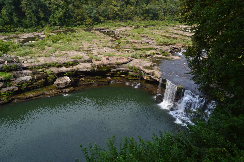 In the summer, adventure seekers flock to Great Falls at Rock Island State Park to experience the rush of the water and to leap from the rocky ledge into the great pool of water below.