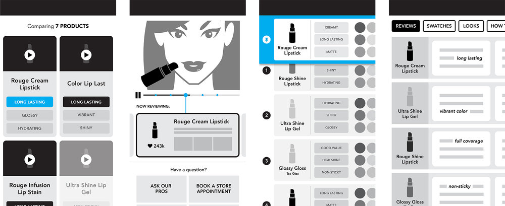 Sketches of potential ways for her to compare products and get see reviews.