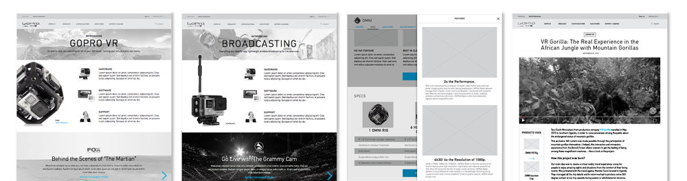 Final wireframes helped to establish the product story, content blocks, and hierarchy on each page.