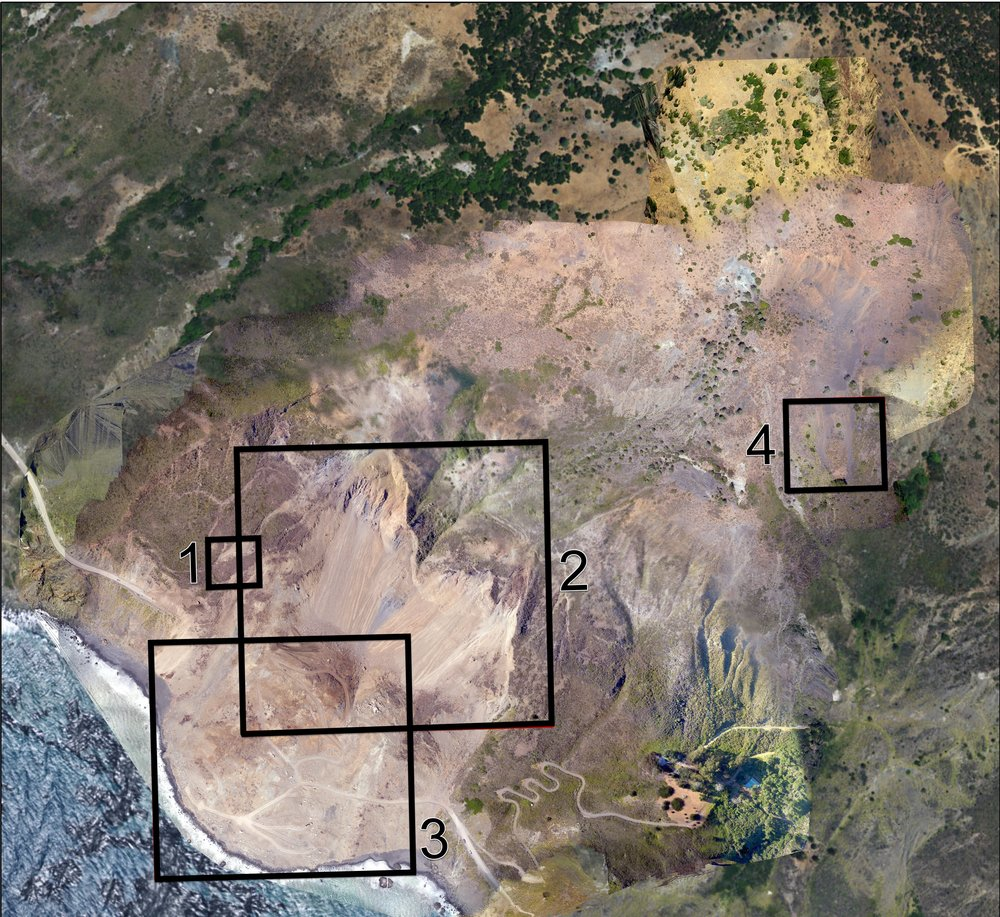 Detail Locations of True Orthomosaic.    The numbered polygons above represent a selection of areas of interest within the mapped area. Scroll down to see the details, along with some quick descriptions and planimetric measurements. All the following images are magnifications of this same dataset - highlighting the extreme detail we can capture.