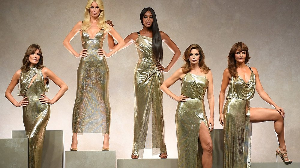 """Gianni's Girls"" from left: Carli Bruni, Claudia Schiffer, Naomi Campbell, Cindy Crawford & Helena Christensen. Photo: Vogue"