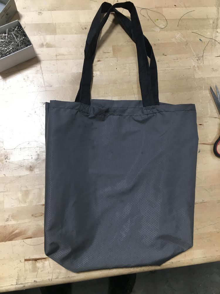 My first legit, finished tote bag!  (One on first day doesn't count because I didn't measure anything, I didn't have to make the handles, and I didn't properly stitch the handles).