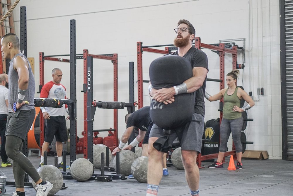 - 16 Minute AMRAP3 Bench6 Hang Power Clean90' Sandbag Carry