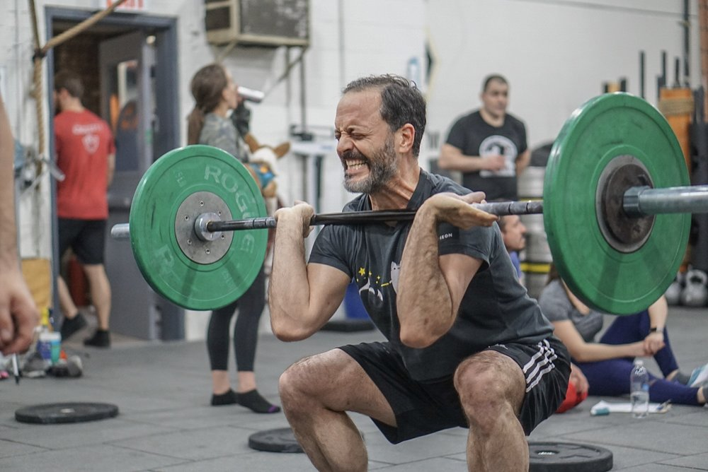 - 15 Minutes to Establish10RM Front Squat-------------------Every 3 Minutes for 15 Minutes10 Front Squat (115/75lbs or 50-60% of 10RM)*20 Dumbbell Snatch30 Double Under<rest>*max weight at 115/75