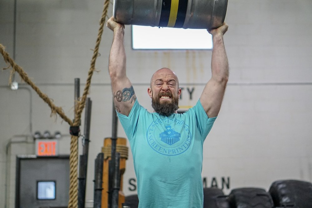 - Repeat for 2 Rounds:7 Minute AMRAP10 Dumbbell Push Press1 Stone to Shoulder14 Air Squat1 Stone to ShoulderRest 3 Minute