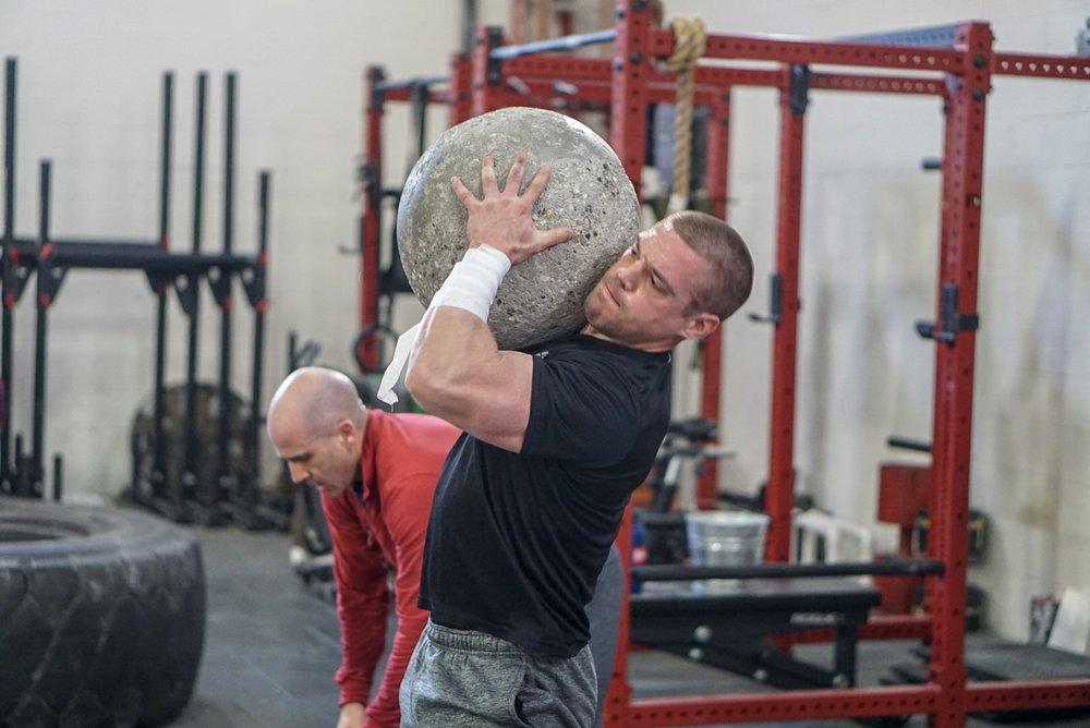 - 30 Rounds2 Back Squat (225/155)1 Stone to Shoulder (AHAP)